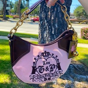 Juicy Couture pink velour shoulder bag Purse Y2K